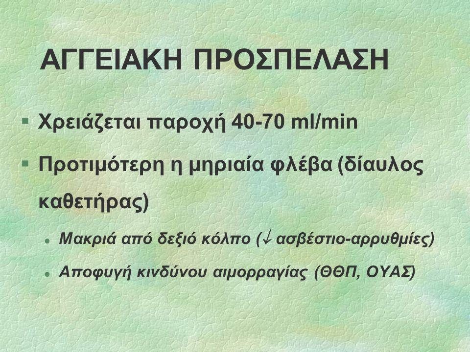 ΑΓΓΕΙΑΚΗ ΠΡΟΣΠΕΛΑΣΗ §Χρειάζεται παροχή 40-70 ml/min §Προτιμότερη η μηριαία φλέβα (δίαυλος καθετήρας) l Μακριά από δεξιό κόλπο (  ασβέστιο-αρρυθμίες)
