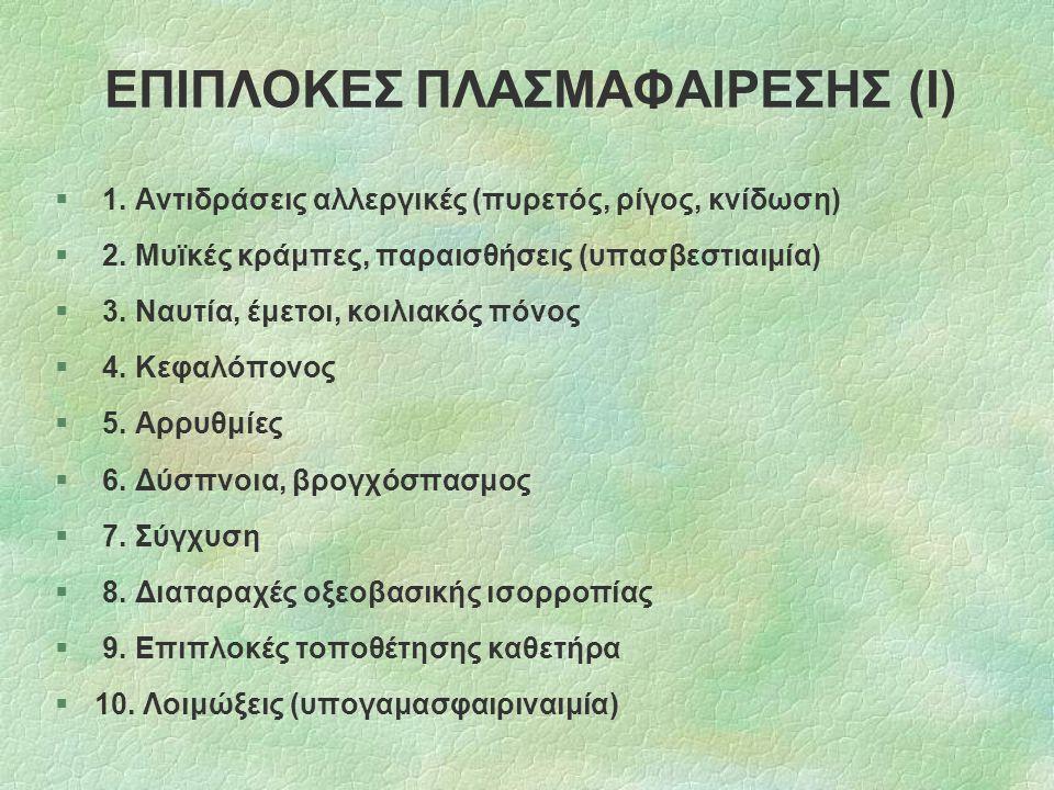 ΕΠΙΠΛΟΚΕΣ ΠΛΑΣΜΑΦΑΙΡΕΣΗΣ (Ι) § 1. Αντιδράσεις αλλεργικές (πυρετός, ρίγος, κνίδωση) § 2. Μυϊκές κράμπες, παραισθήσεις (υπασβεστιαιμία) § 3. Ναυτία, έμε