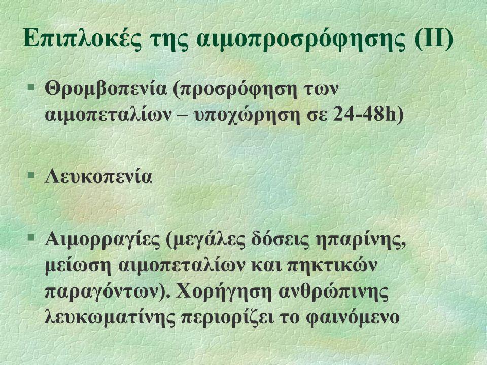 Επιπλοκές της αιμοπροσρόφησης (ΙΙ) §Θρομβοπενία (προσρόφηση των αιμοπεταλίων – υποχώρηση σε 24-48h) §Λευκοπενία §Αιμορραγίες (μεγάλες δόσεις ηπαρίνης,
