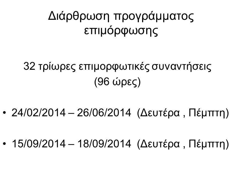 Διάρθρωση προγράμματος επιμόρφωσης 32 τρίωρες επιμορφωτικές συναντήσεις (96 ώρες) 24/02/2014 – 26/06/2014 (Δευτέρα, Πέμπτη) 15/09/2014 – 18/09/2014 (Δευτέρα, Πέμπτη)