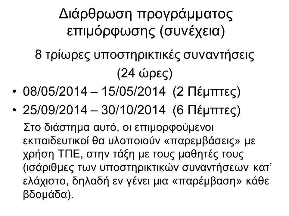 Διάρθρωση προγράμματος επιμόρφωσης (συνέχεια) 8 τρίωρες υποστηρικτικές συναντήσεις (24 ώρες) 08/05/2014 – 15/05/2014 (2 Πέμπτες) 25/09/2014 – 30/10/2014 (6 Πέμπτες) Στο διάστημα αυτό, οι επιμορφούμενοι εκπαιδευτικοί θα υλοποιούν «παρεμβάσεις» με χρήση ΤΠΕ, στην τάξη με τους μαθητές τους (ισάριθμες των υποστηρικτικών συναντήσεων κατ' ελάχιστο, δηλαδή εν γένει μια «παρέμβαση» κάθε βδομάδα).