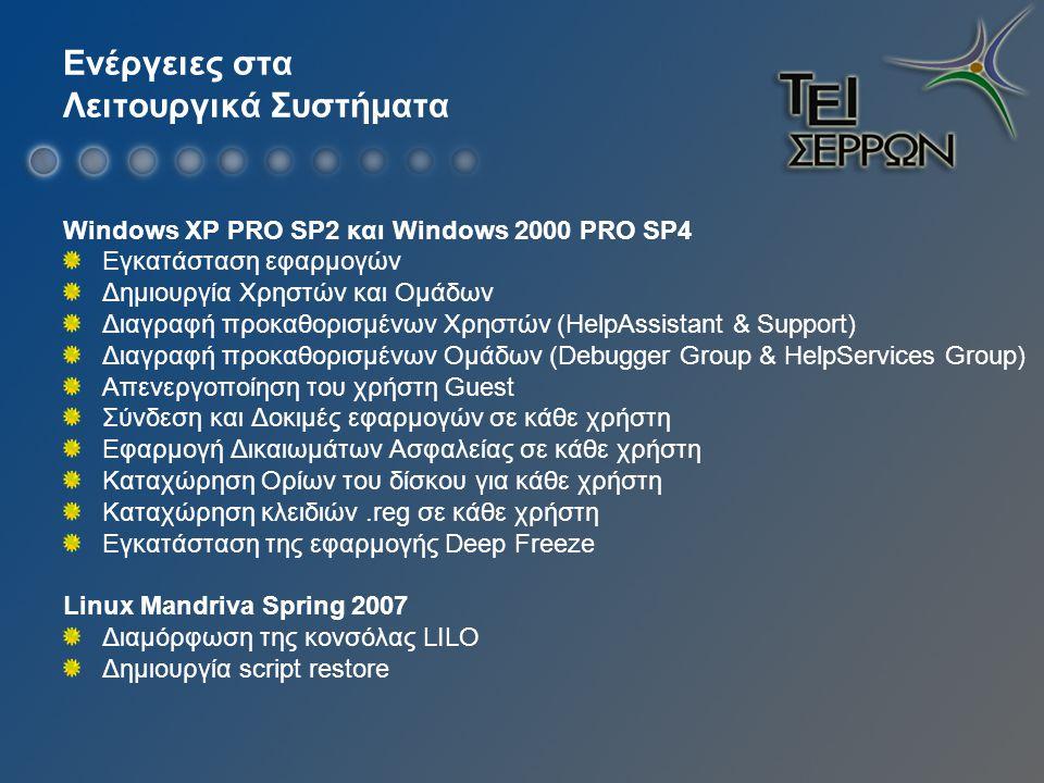 Ενέργειες στα Λειτουργικά Συστήματα Windows XP PRO SP2 και Windows 2000 PRO SP4 Εγκατάσταση εφαρμογών Δημιουργία Χρηστών και Ομάδων Διαγραφή προκαθορισμένων Xρηστών (HelpAssistant & Support) Διαγραφή προκαθορισμένων Ομάδων (Debugger Group & HelpServices Group) Απενεργοποίηση του χρήστη Guest Σύνδεση και Δοκιμές εφαρμογών σε κάθε χρήστη Εφαρμογή Δικαιωμάτων Ασφαλείας σε κάθε χρήστη Καταχώρηση Ορίων του δίσκου για κάθε χρήστη Καταχώρηση κλειδιών.reg σε κάθε χρήστη Εγκατάσταση της εφαρμογής Deep Freeze Linux Mandriva Spring 2007 Διαμόρφωση της κονσόλας LILO Δημιουργία script restore