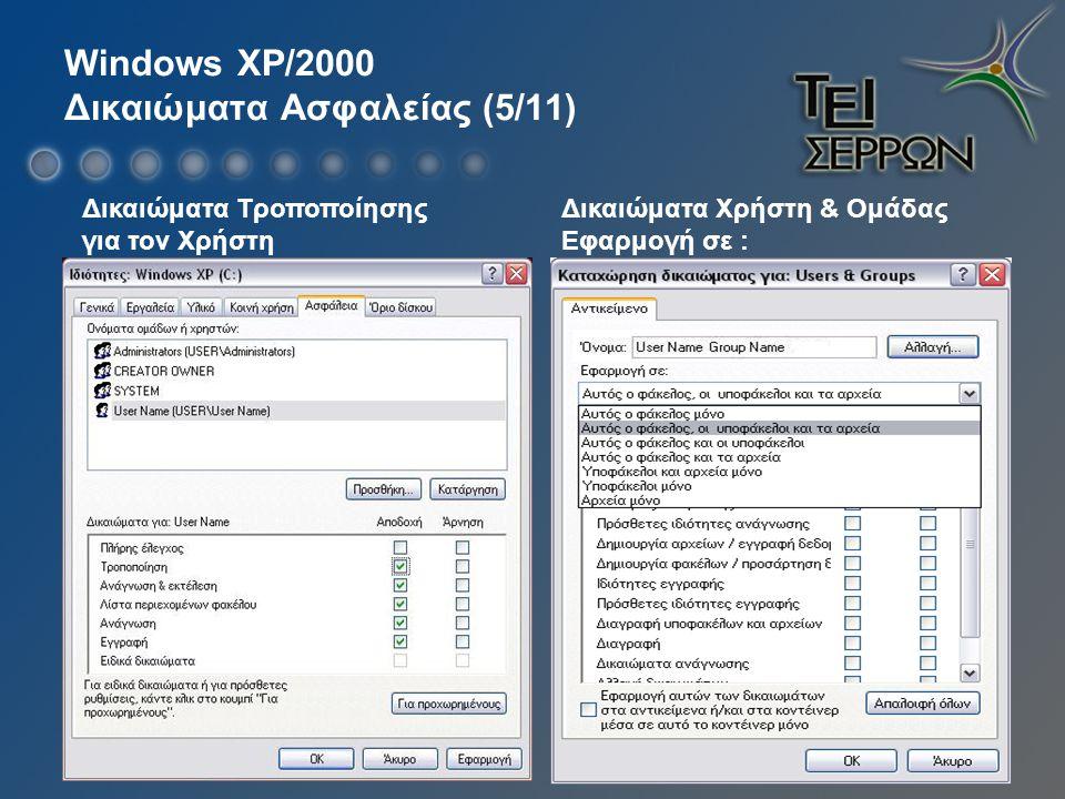 Windows XP/2000 Δικαιώματα Ασφαλείας (5/11) Δικαιώματα Τροποποίησης για τον Χρήστη Δικαιώματα Χρήστη & Ομάδας Εφαρμογή σε :