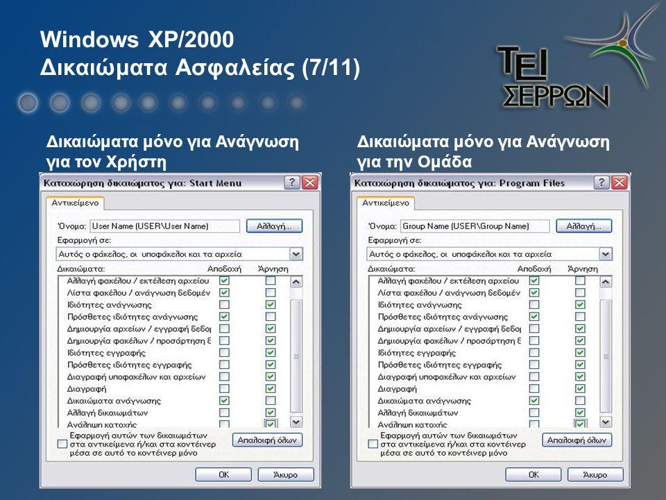 Windows XP/2000 Δικαιώματα Ασφαλείας (7/11) Δικαιώματα μόνο για Ανάγνωση για τον Χρήστη Δικαιώματα μόνο για Ανάγνωση για την Ομάδα