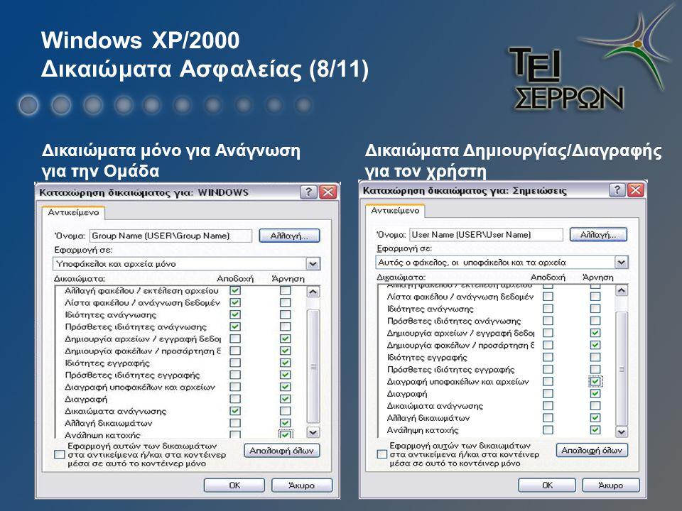 Windows XP/2000 Δικαιώματα Ασφαλείας (8/11) Δικαιώματα Δημιουργίας/Διαγραφής για τον χρήστη Δικαιώματα μόνο για Ανάγνωση για την Ομάδα