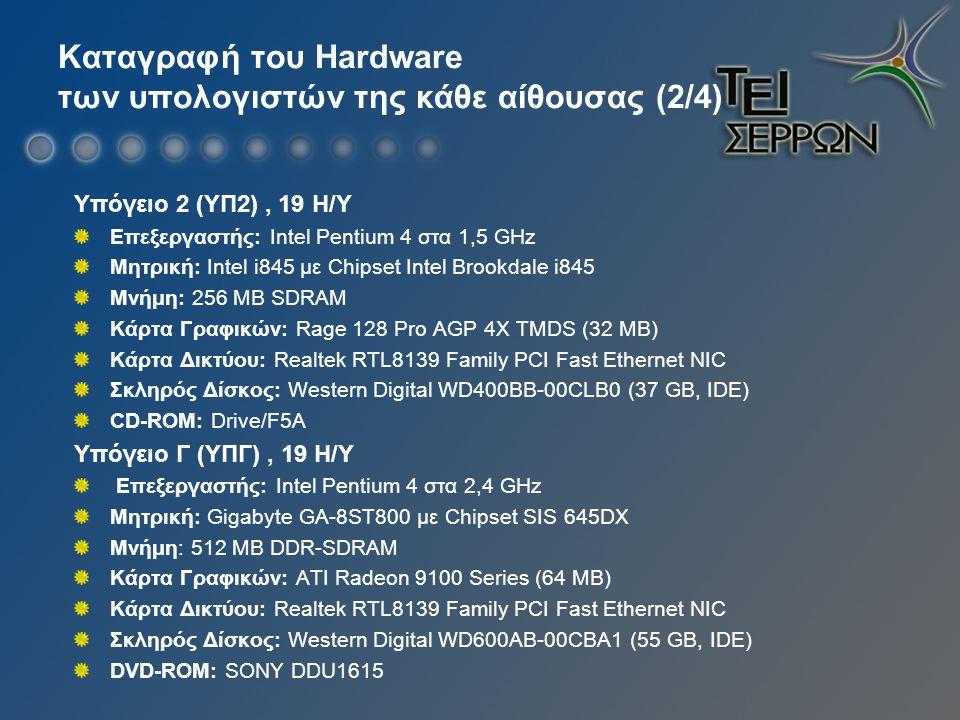 Καταγραφή του Hardware των υπολογιστών της κάθε αίθουσας (2/4) Υπόγειο 2 (ΥΠ2), 19 Η/Υ Επεξεργαστής: Intel Pentium 4 στα 1,5 GHz Μητρική: Intel i845 με Chipset Intel Brookdale i845 Μνήμη: 256 MB SDRAM Κάρτα Γραφικών: Rage 128 Pro AGP 4X TMDS (32 MB) Κάρτα Δικτύου: Realtek RTL8139 Family PCI Fast Ethernet NIC Σκληρός Δίσκος: Western Digital WD400BB-00CLB0 (37 GB, IDE) CD-ROM: Drive/F5A Υπόγειο Γ (ΥΠΓ), 19 Η/Υ Επεξεργαστής: Intel Pentium 4 στα 2,4 GHz Μητρική: Gigabyte GA-8ST800 με Chipset SIS 645DX Μνήμη: 512 MB DDR-SDRAM Κάρτα Γραφικών: ATI Radeon 9100 Series (64 MB) Κάρτα Δικτύου: Realtek RTL8139 Family PCI Fast Ethernet NIC Σκληρός Δίσκος: Western Digital WD600AB-00CBA1 (55 GB, IDE) DVD-ROM: SONY DDU1615