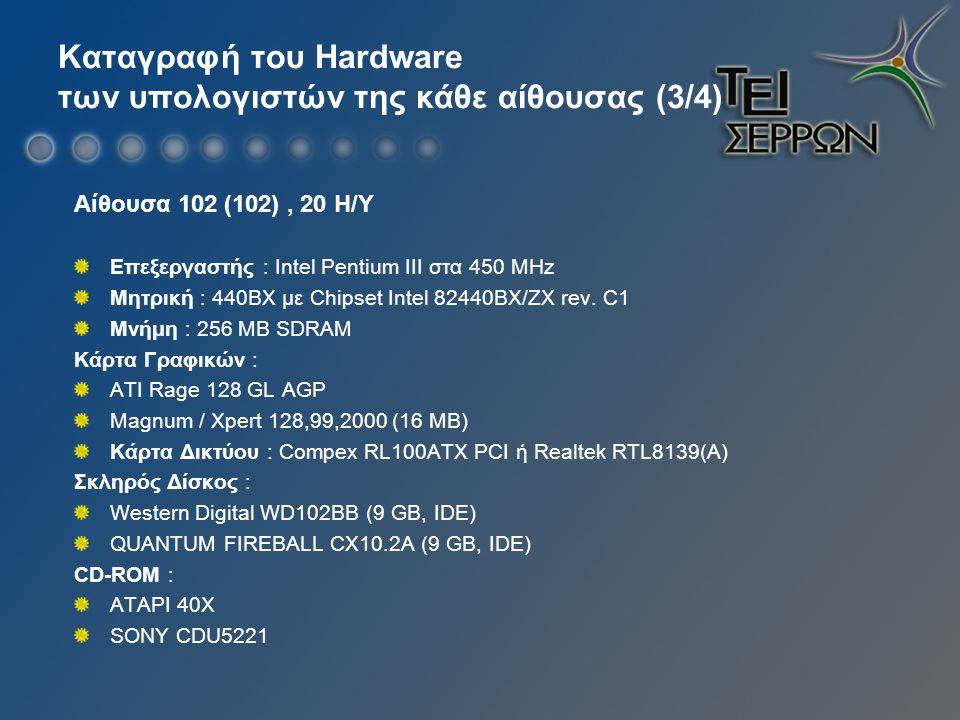 Καταγραφή του Hardware των υπολογιστών της κάθε αίθουσας (3/4) Αίθουσα 102 (102), 20 Η/Υ Επεξεργαστής : Intel Pentium III στα 450 ΜHz Μητρική : 440BX με Chipset Intel 82440BX/ZX rev.