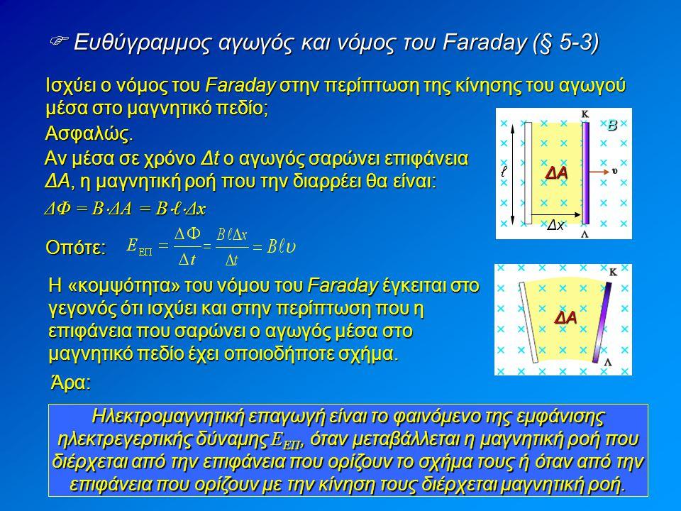 Β ΔAΔAΔAΔA  Ευθύγραμμος αγωγός και νόμος του Faraday (§ 5-3) Ασφαλώς.
