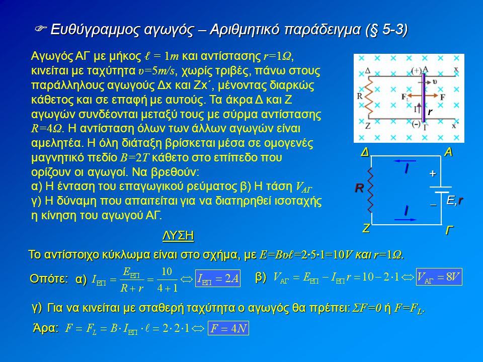 Ευθύγραμμος αγωγός – Αριθμητικό παράδειγμα (§ 5-3) Αγωγός ΑΓ με μήκος ℓ = 1m και αντίστασης r=1Ω, κινείται με ταχύτητα υ=5m/s, χωρίς τριβές, πάνω στους παράλληλους αγωγούς Δx και Ζx΄, μένοντας διαρκώς κάθετος και σε επαφή με αυτούς.