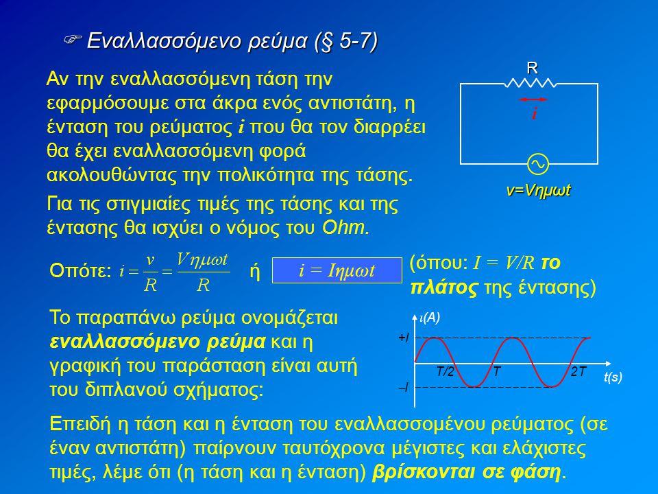  Εναλλασσόμενο ρεύμα (§ 5-7) Αν την εναλλασσόμενη τάση την εφαρμόσουμε στα άκρα ενός αντιστάτη, η ένταση του ρεύματος i που θα τον διαρρέει θα έχει εναλλασσόμενη φορά ακολουθώντας την πολικότητα της τάσης.R i v=Vημωt Για τις στιγμιαίες τιμές της τάσης και της έντασης θα ισχύει ο νόμος του Ohm.