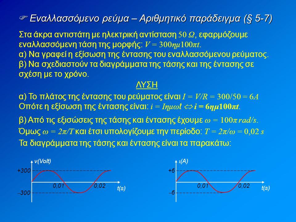  Εναλλασσόμενο ρεύμα – Αριθμητικό παράδειγμα (§ 5-7) Στα άκρα αντιστάτη με ηλεκτρική αντίσταση 50 Ω, εφαρμόζουμε εναλλασσόμενη τάση της μορφής: V = 300ημ100πt.