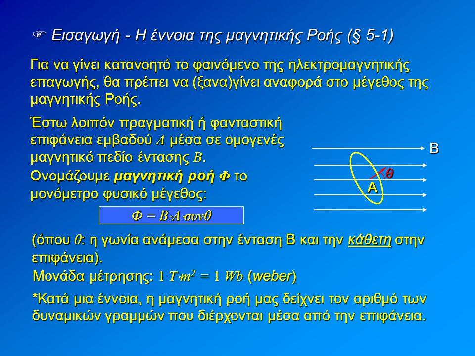  Κανόνας του Lenz (§ 5-4) Γεννάται το ερώτημα: Ο νόμος της επαγωγής μας δίνει την τιμή της Ε ΕΠ, ποια είναι όμως η πολικότητα της; Ή με άλλα λόγια: Εδώ «μας ξελασπώνει» ο κανόνας που διατύπωσε ο Εσθονός φυσικός Heinrich Lenz: Ποια φορά έχει το ρεύμα που προκαλείται από την Ε ΕΠ ; Κανόνας του Lenz Tα επαγωγικά ρεύματα έχουν τέτοια φορά ώστε να αντιτίθενται στο αίτιο που τα προκαλεί.