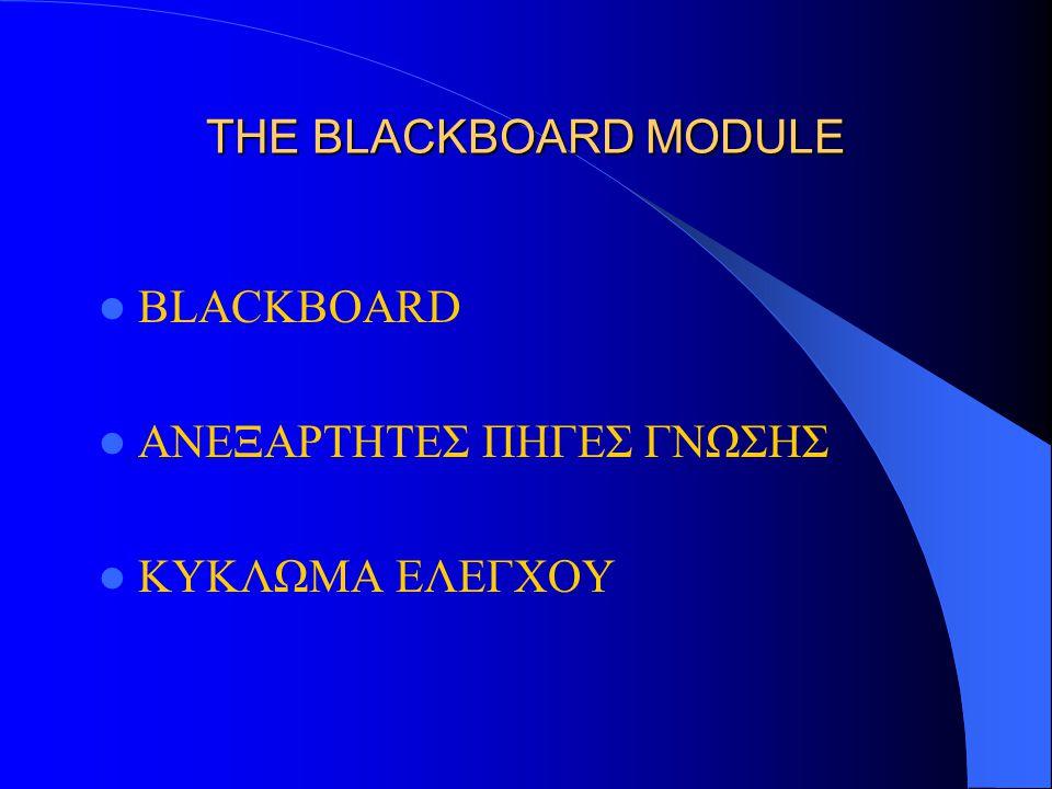 THE BLACKBOARD MODULE BLACKBOARD ΑΝΕΞΑΡΤΗΤΕΣ ΠΗΓΕΣ ΓΝΩΣΗΣ ΚΥΚΛΩΜΑ ΕΛΕΓΧΟΥ