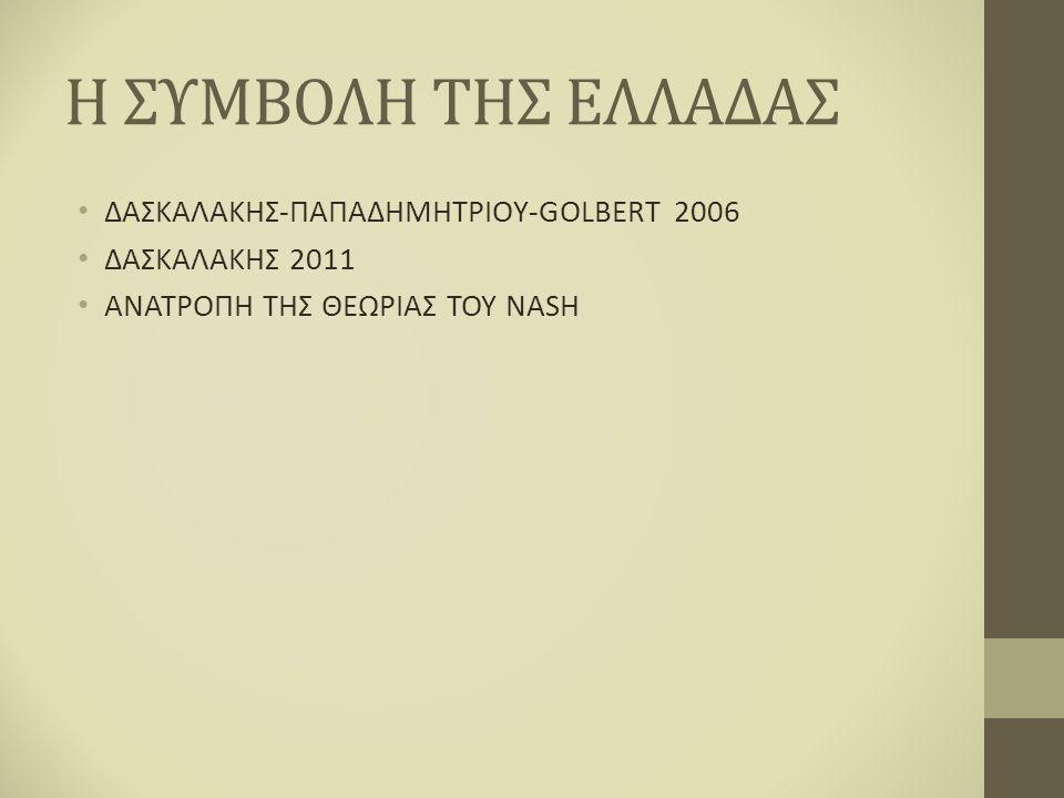 Η ΣΥΜΒΟΛΗ ΤΗΣ ΕΛΛΑΔΑΣ ΔΑΣΚΑΛΑΚΗΣ-ΠΑΠΑΔΗΜΗΤΡΙΟΥ-GOLBERT 2006 ΔΑΣΚΑΛΑΚΗΣ 2011 ΑΝΑΤΡΟΠΗ ΤΗΣ ΘΕΩΡΙΑΣ ΤΟΥ NASH