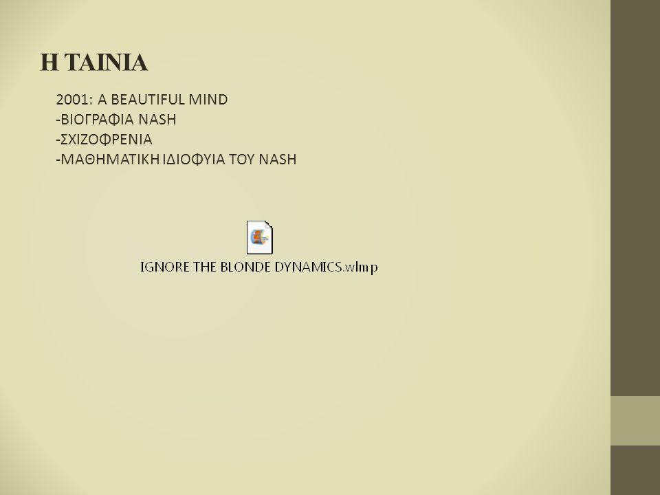 H TAINIA 2001: A BEAUTIFUL MIND -ΒΙΟΓΡΑΦΙΑ NASH -ΣΧΙΖΟΦΡΕΝΙΑ -ΜΑΘΗΜΑΤΙΚΗ ΙΔΙΟΦΥΙΑ ΤΟΥ NASH