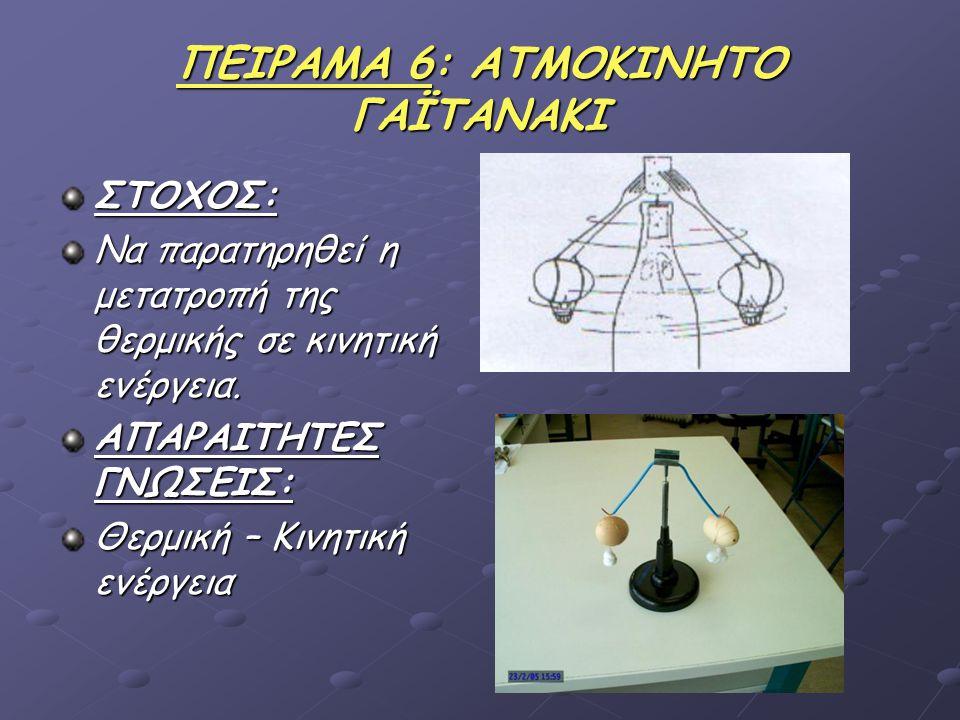 ΠΕΙΡΑΜΑ 6: ΑΤΜΟΚΙΝΗΤΟ ΓΑΪΤΑΝΑΚΙ ΣΤΟΧΟΣ: Να παρατηρηθεί η μετατροπή της θερμικής σε κινητική ενέργεια.