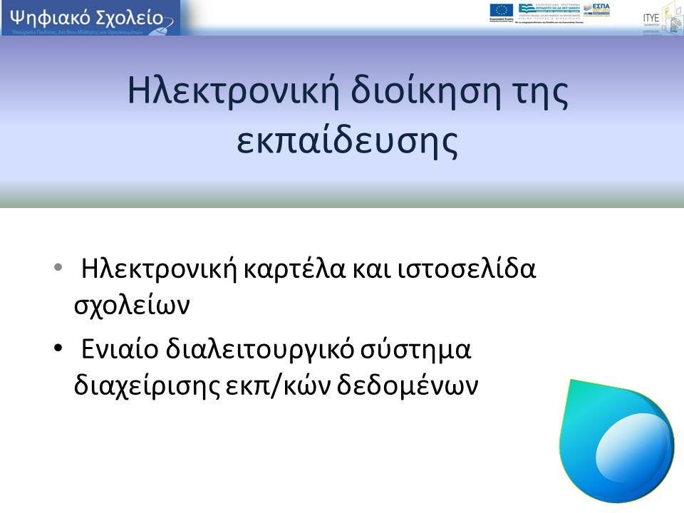 Ηλεκτρονική διοίκηση της εκπαίδευσης Ηλεκτρονική καρτέλα και ιστοσελίδα σχολείων Ενιαίο διαλειτουργικό σύστημα διαχείρισης εκπ/κών δεδομένων