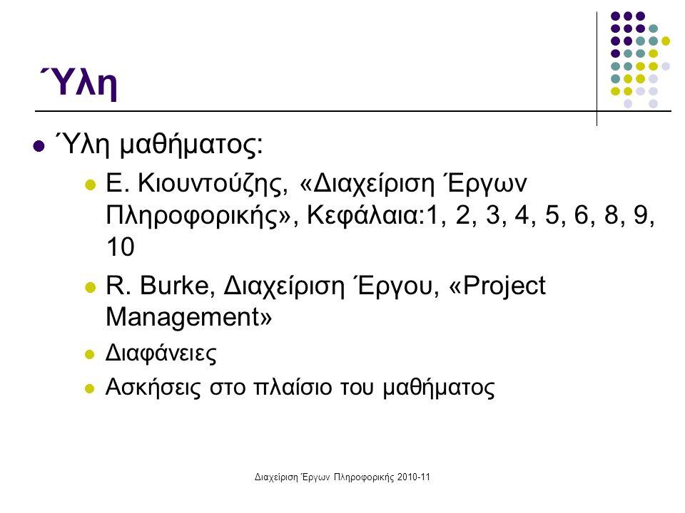 Διαχείριση Έργων Πληροφορικής 2010-11 Ύλη Ύλη μαθήματος: Ε. Κιουντούζης, «Διαχείριση Έργων Πληροφορικής», Κεφάλαια:1, 2, 3, 4, 5, 6, 8, 9, 10 R. Burke