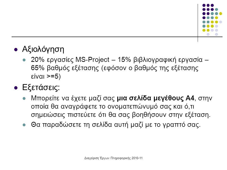 Διαχείριση Έργων Πληροφορικής 2010-11 Αξιολόγηση 20% εργασίες MS-Project – 15% βιβλιογραφική εργασία – 65% βαθμός εξέτασης (εφόσον ο βαθμός της εξέτασ