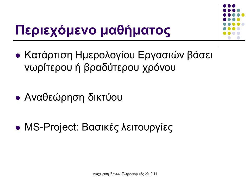 Διαχείριση Έργων Πληροφορικής 2010-11 Περιεχόμενο μαθήματος Κατάρτιση Ημερολογίου Εργασιών βάσει νωρίτερου ή βραδύτερου χρόνου Αναθεώρηση δικτύου MS-P