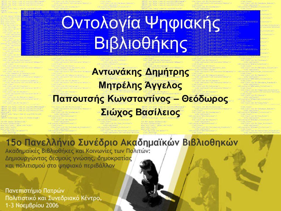 15ο Πανελλήνιο Συνέδριο Ακαδημαϊκών Βιβλιοθηκών Content (Περιεχόμενο) Εισαγωγή Θεωρητικό Υπόβαθρο Ανάπτυξη Οντολογίας Συμπεράσματα Βιβλιογραφία
