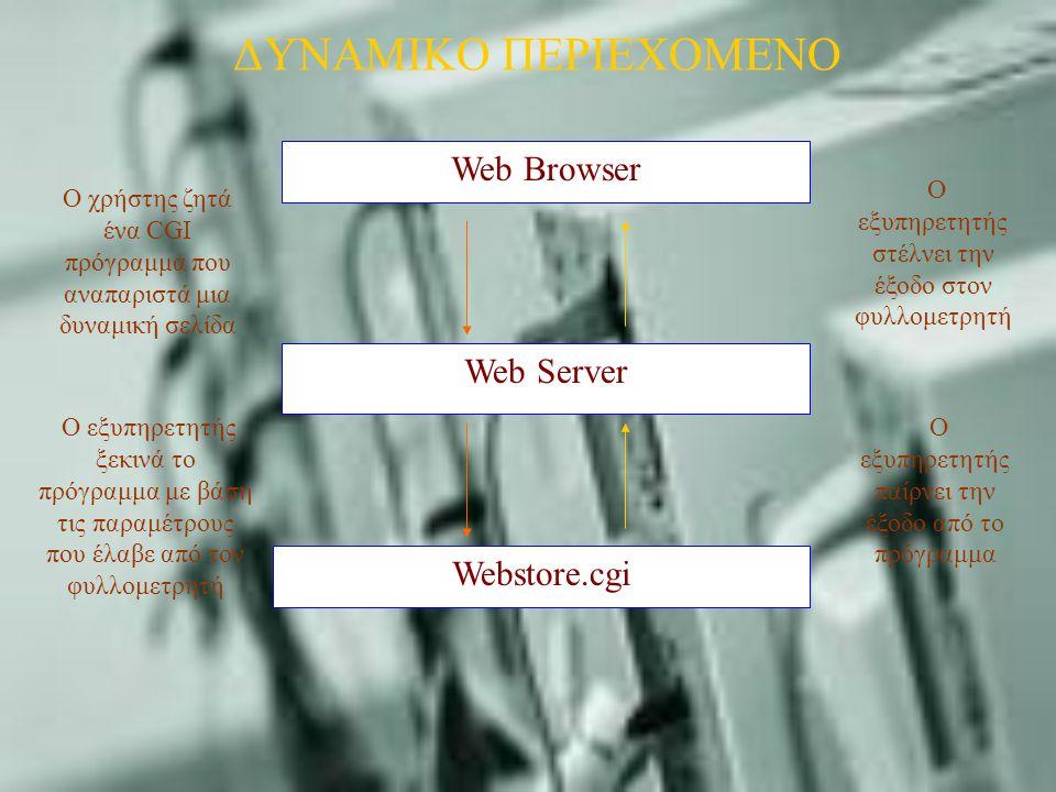 Web Browser Web Server Webstore.cgi O χρήστης ζητά ένα CGI πρόγραμμα που αναπαριστά μια δυναμική σελίδα O εξυπηρετητής ξεκινά το πρόγραμμα με βάση τις παραμέτρους που έλαβε από τον φυλλομετρητή O εξυπηρετητής στέλνει την έξοδο στον φυλλομετρητή O εξυπηρετητής παίρνει την έξοδο από το πρόγραμμα ΔΥΝΑΜΙΚΟ ΠΕΡΙΕΧΟΜΕΝΟ