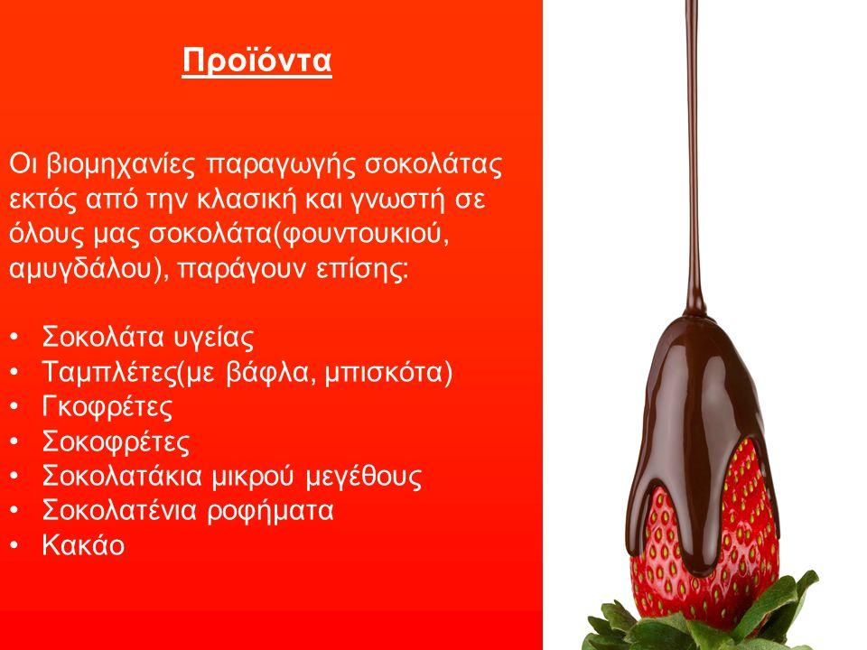 Προϊόντα Οι βιομηχανίες παραγωγής σοκολάτας εκτός από την κλασική και γνωστή σε όλους μας σοκολάτα(φουντουκιού, αμυγδάλου), παράγουν επίσης: Σοκολάτα