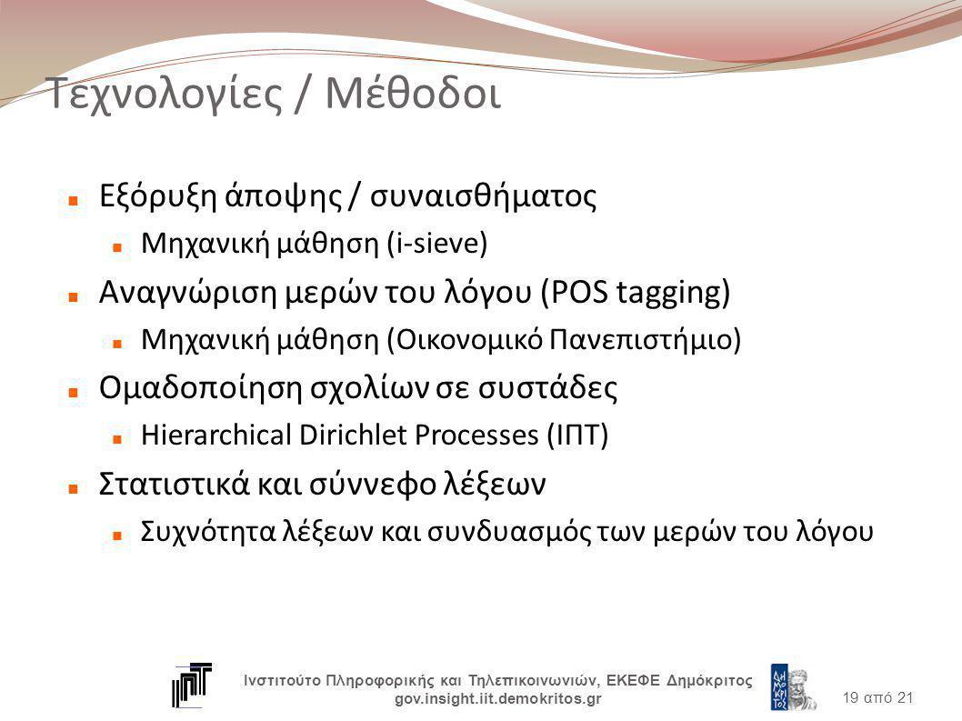 Τεχνολογίες / Μέθοδοι Εξόρυξη άποψης / συναισθήματος Μηχανική μάθηση (i-sieve) Αναγνώριση μερών του λόγου (POS tagging) Μηχανική μάθηση (Οικονομικό Πανεπιστήμιο) Ομαδοποίηση σχολίων σε συστάδες Hierarchical Dirichlet Processes (ΙΠΤ) Στατιστικά και σύννεφο λέξεων Συχνότητα λέξεων και συνδυασμός των μερών του λόγου 19 από 21 Ινστιτούτο Πληροφορικής και Τηλεπικοινωνιών, ΕΚΕΦΕ Δημόκριτος gov.insight.iit.demokritos.gr
