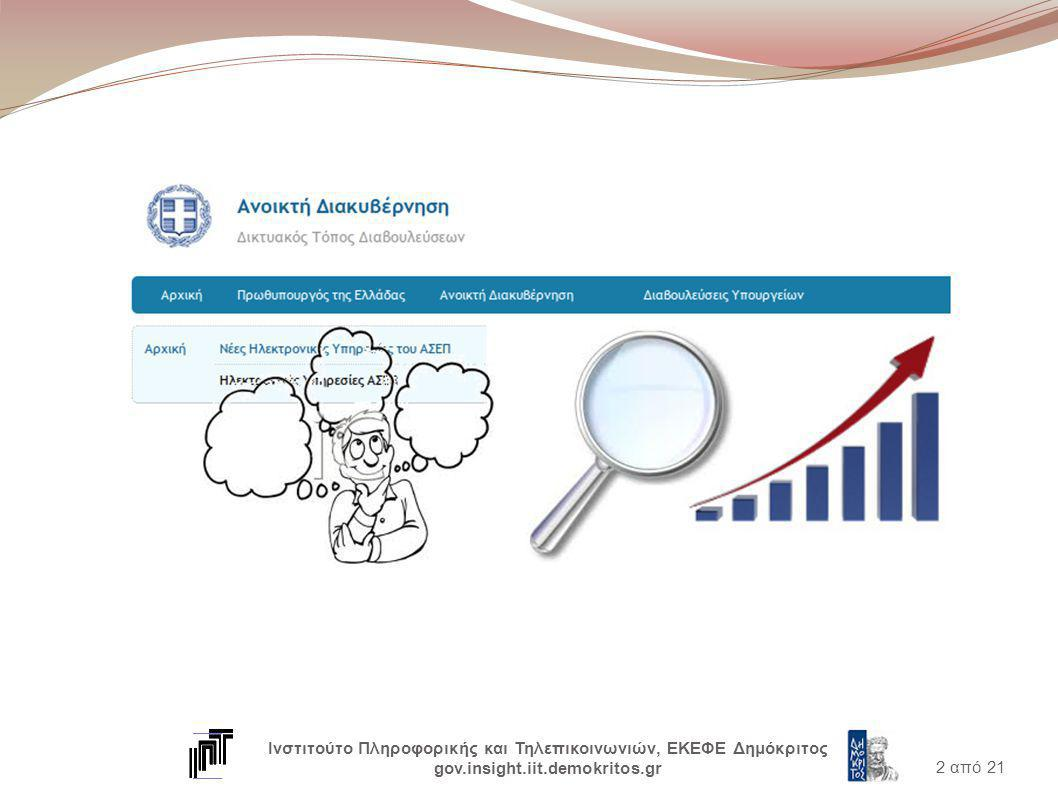 2 από 21 Ινστιτούτο Πληροφορικής και Τηλεπικοινωνιών, ΕΚΕΦΕ Δημόκριτος gov.insight.iit.demokritos.gr