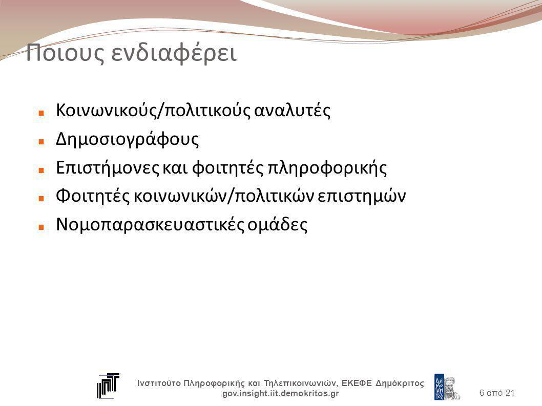 Ποιους ενδιαφέρει Κοινωνικούς/πολιτικούς αναλυτές Δημοσιογράφους Επιστήμονες και φοιτητές πληροφορικής Φοιτητές κοινωνικών/πολιτικών επιστημών Νομοπαρασκευαστικές ομάδες 6 από 21 Ινστιτούτο Πληροφορικής και Τηλεπικοινωνιών, ΕΚΕΦΕ Δημόκριτος gov.insight.iit.demokritos.gr