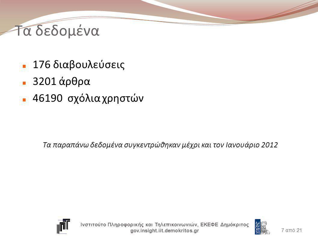 Τι προσφέρεται (1/2) Πλοήγηση στις διαβουλεύσεις, άρθρα και σχόλια Αναζήτηση με λέξεις κλειδιά Στατιστικά διαγράμματα ανά: Διαβούλευση Άρθρο Αναζήτηση 8 από 21 Ινστιτούτο Πληροφορικής και Τηλεπικοινωνιών, ΕΚΕΦΕ Δημόκριτος gov.insight.iit.demokritos.gr