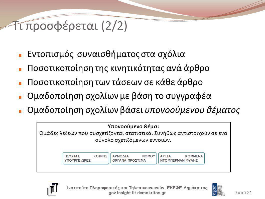 Τι προσφέρεται (2/2) Εντοπισμός συναισθήματος στα σχόλια Ποσοτικοποίηση της κινητικότητας ανά άρθρο Ποσοτικοποίηση των τάσεων σε κάθε άρθρο Ομαδοποίηση σχολίων με βάση το συγγραφέα Ομαδοποίηση σχολίων βάσει υπονοούμενου θέματος 9 από 21 Ινστιτούτο Πληροφορικής και Τηλεπικοινωνιών, ΕΚΕΦΕ Δημόκριτος gov.insight.iit.demokritos.gr Υπονοούμενο Θέμα: Ομάδες λέξεων που συσχετίζονται στατιστικά.