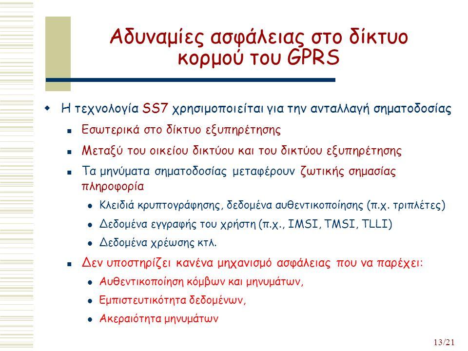 13/21 Αδυναμίες ασφάλειας στο δίκτυο κορμού του GPRS  Η τεχνολογία SS7 χρησιμοποιείται για την ανταλλαγή σηματοδοσίας Εσωτερικά στο δίκτυο εξυπηρέτησης Μεταξύ του οικείου δικτύου και του δικτύου εξυπηρέτησης Τα μηνύματα σηματοδοσίας μεταφέρουν ζωτικής σημασίας πληροφορία Κλειδιά κρυπτογράφησης, δεδομένα αυθεντικοποίησης (π.χ.