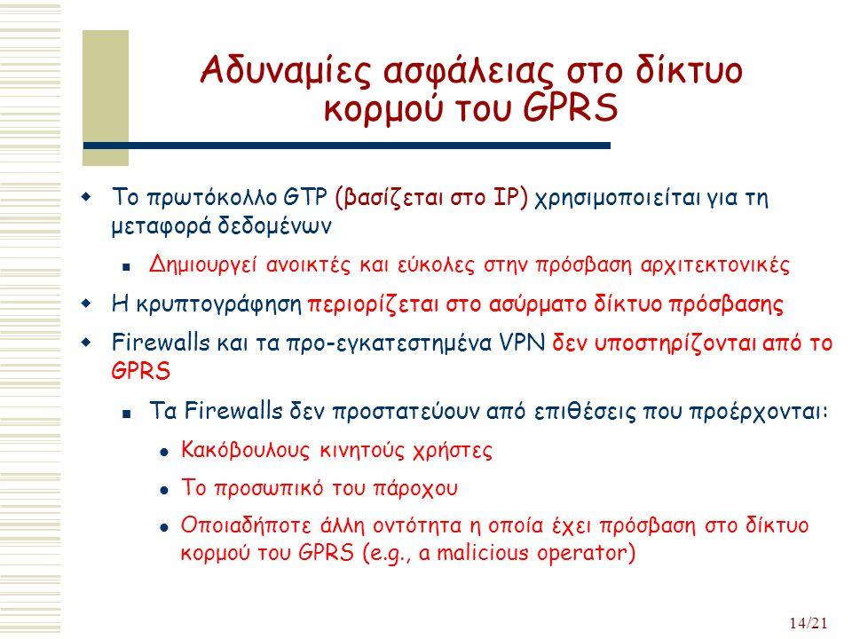 14/21 Αδυναμίες ασφάλειας στο δίκτυο κορμού του GPRS  Το πρωτόκολλο GTP (βασίζεται στο IP) χρησιμοποιείται για τη μεταφορά δεδομένων Δημιουργεί ανοικτές και εύκολες στην πρόσβαση αρχιτεκτονικές  Η κρυπτογράφηση περιορίζεται στο ασύρματο δίκτυο πρόσβασης  Firewalls και τα προ-εγκατεστημένα VPN δεν υποστηρίζονται από το GPRS Τα Firewalls δεν προστατεύουν από επιθέσεις που προέρχονται: Κακόβουλους κινητούς χρήστες Το προσωπικό του πάροχου Οποιαδήποτε άλλη οντότητα η οποία έχει πρόσβαση στο δίκτυο κορμού του GPRS (e.g., a malicious operator)