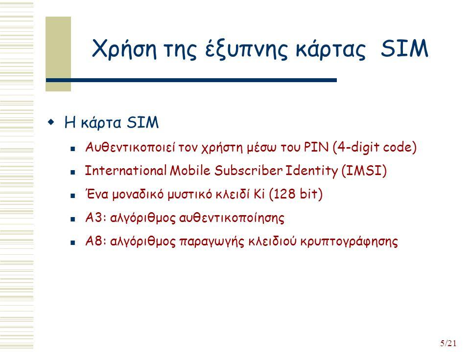 5/21 Χρήση της έξυπνης κάρτας SIM  Η κάρτα SIM Αυθεντικοποιεί τον χρήστη μέσω του PIN (4-digit code) International Mobile Subscriber Identity (IMSI) Ένα μοναδικό μυστικό κλειδί Ki (128 bit) Α3: αλγόριθμος αυθεντικοποίησης Α8: αλγόριθμος παραγωγής κλειδιού κρυπτογράφησης