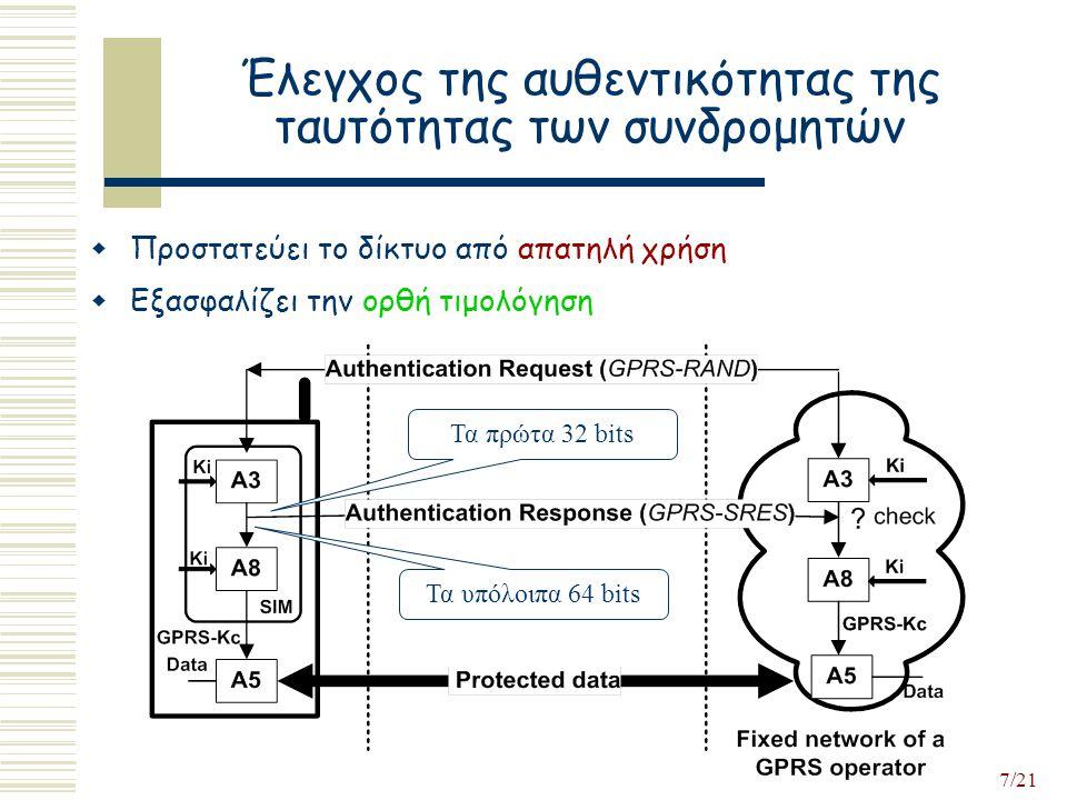 7/21 Έλεγχος της αυθεντικότητας της ταυτότητας των συνδρομητών Τα πρώτα 32 bits Τα υπόλοιπα 64 bits  Προστατεύει το δίκτυο από απατηλή χρήση  Εξασφαλίζει την ορθή τιμολόγηση
