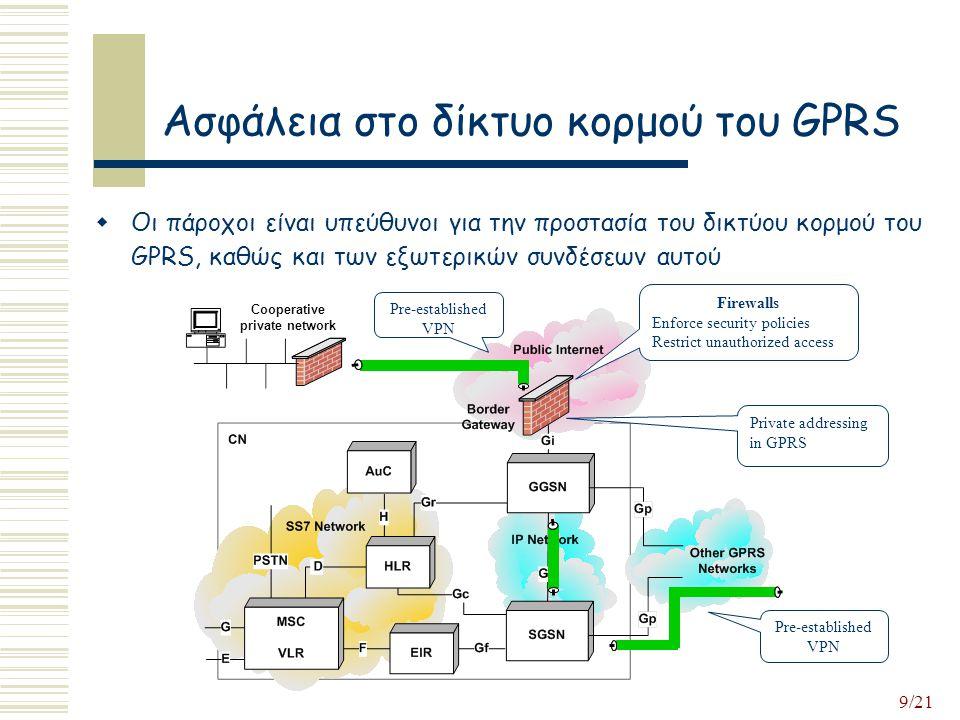 9/21 Ασφάλεια στο δίκτυο κορμού του GPRS  Οι πάροχοι είναι υπεύθυνοι για την προστασία του δικτύου κορμού του GPRS, καθώς και των εξωτερικών συνδέσεων αυτού Firewalls Enforce security policies Restrict unauthorized access Pre-established VPN Cooperative private network Pre-established VPN Private addressing in GPRS