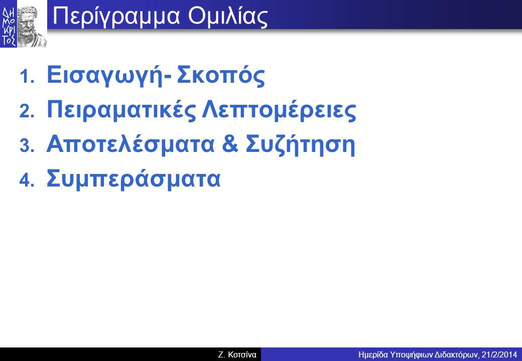 Ημερίδα Υποψήφιων Διδακτόρων, 21/2/2014Z. Κοτσίνα Περίγραμμα Ομιλίας 1.