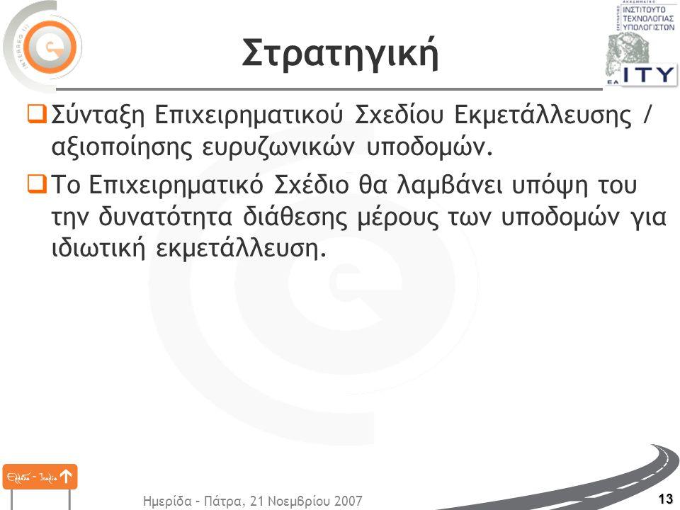 Ημερίδα – Πάτρα, 21 Νοεμβρίου 2007 13 Στρατηγική  Σύνταξη Επιχειρηματικού Σχεδίου Εκμετάλλευσης / αξιοποίησης ευρυζωνικών υποδομών.