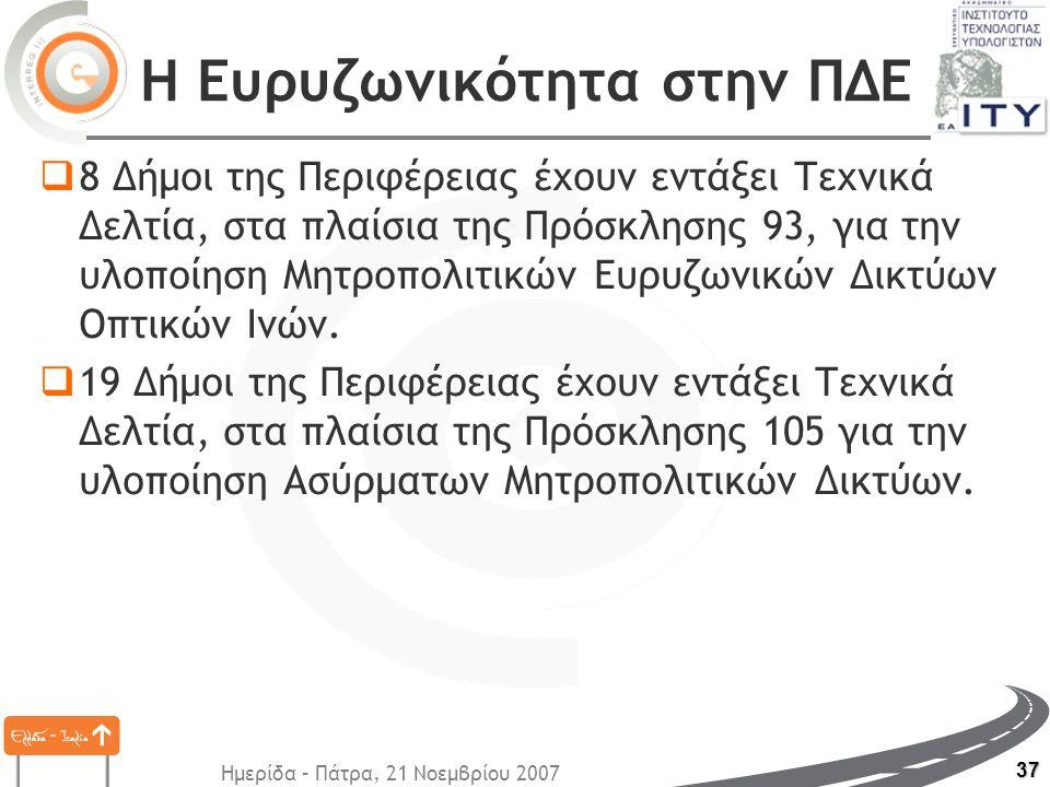 Ημερίδα – Πάτρα, 21 Νοεμβρίου 2007 37 Η Ευρυζωνικότητα στην ΠΔΕ  8 Δήμοι της Περιφέρειας έχουν εντάξει Τεχνικά Δελτία, στα πλαίσια της Πρόσκλησης 93, για την υλοποίηση Μητροπολιτικών Ευρυζωνικών Δικτύων Οπτικών Ινών.