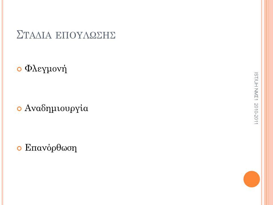 Σ ΤΑΔΙΑ ΕΠΟΥΛΩΣΗΣ Φλεγμονή Αναδημιουργία Επανόρθωση IST/UH ΝΜΣ1 2010-2011