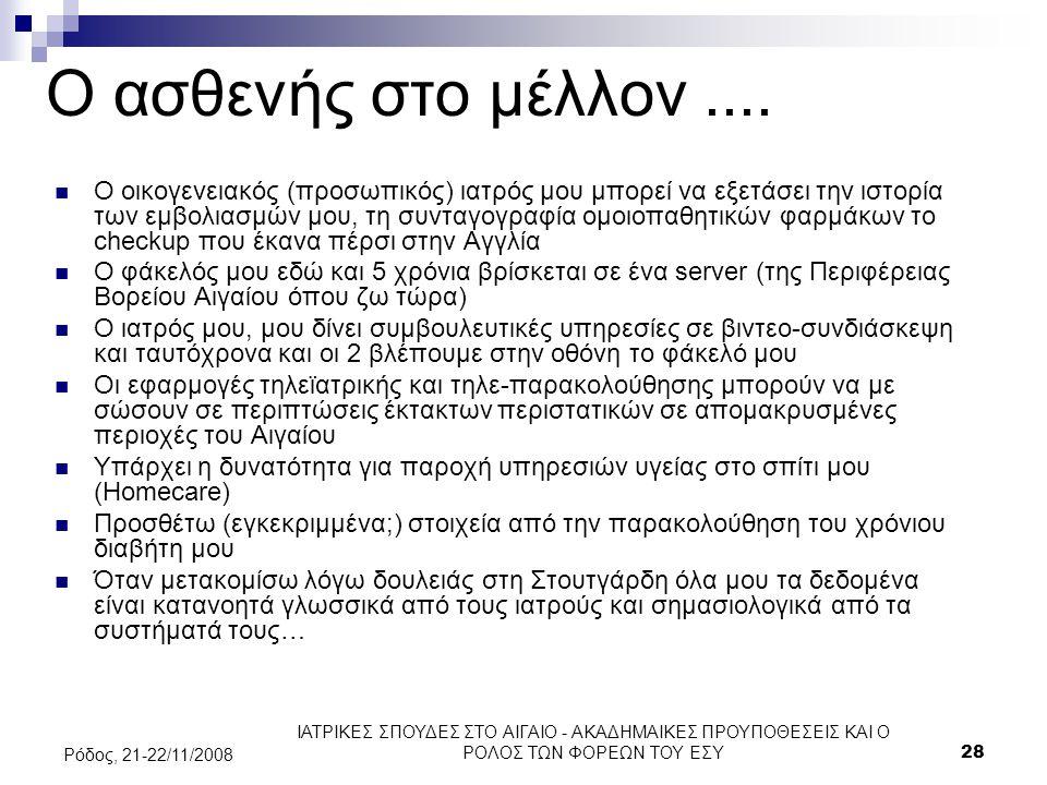ΙΑΤΡΙΚΕΣ ΣΠΟΥΔΕΣ ΣΤΟ ΑΙΓΑΙΟ - ΑΚΑΔΗΜΑΙΚΕΣ ΠΡΟΥΠΟΘΕΣΕΙΣ ΚΑΙ Ο ΡΟΛΟΣ ΤΩΝ ΦΟΡΕΩΝ ΤΟΥ ΕΣΥ28 Ρόδος, 21-22/11/2008 Ο ασθενής στο μέλλον.... Ο οικογενειακός