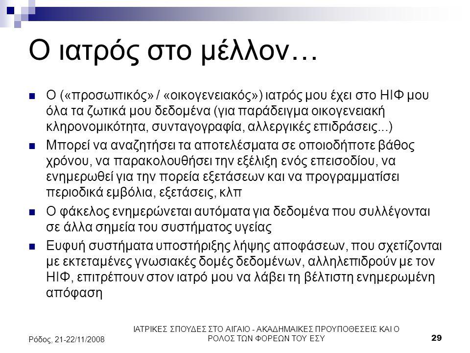 ΙΑΤΡΙΚΕΣ ΣΠΟΥΔΕΣ ΣΤΟ ΑΙΓΑΙΟ - ΑΚΑΔΗΜΑΙΚΕΣ ΠΡΟΥΠΟΘΕΣΕΙΣ ΚΑΙ Ο ΡΟΛΟΣ ΤΩΝ ΦΟΡΕΩΝ ΤΟΥ ΕΣΥ29 Ρόδος, 21-22/11/2008 Ο ιατρός στο μέλλον… Ο («προσωπικός» / «ο