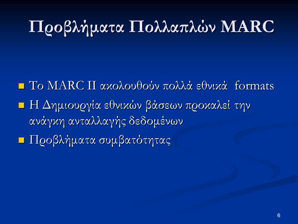 57 Η εγγραφή MARC21 ως καταχώριση στο Υ. Σ.
