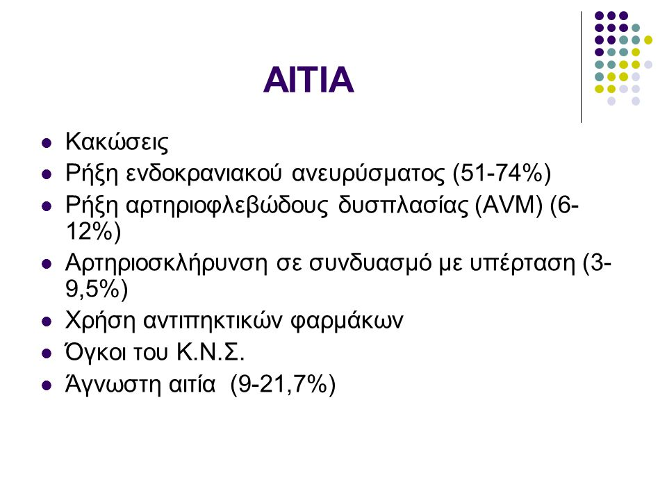 ΑΙΤΙΑ Κακώσεις Ρήξη ενδοκρανιακού ανευρύσματος (51-74%) Ρήξη αρτηριοφλεβώδους δυσπλασίας (AVM) (6- 12%) Αρτηριοσκλήρυνση σε συνδυασμό με υπέρταση (3-