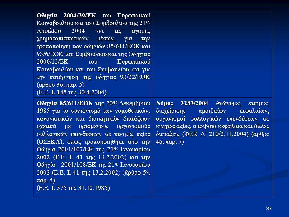37 Οδηγία 2004/39/ΕΚ του Ευρωπαϊκού Κοινοβουλίου και του Συμβουλίου της 21 ης Απριλίου 2004 για τις αγορές χρηματοπιστωτικών μέσων, για την τροποποίησ