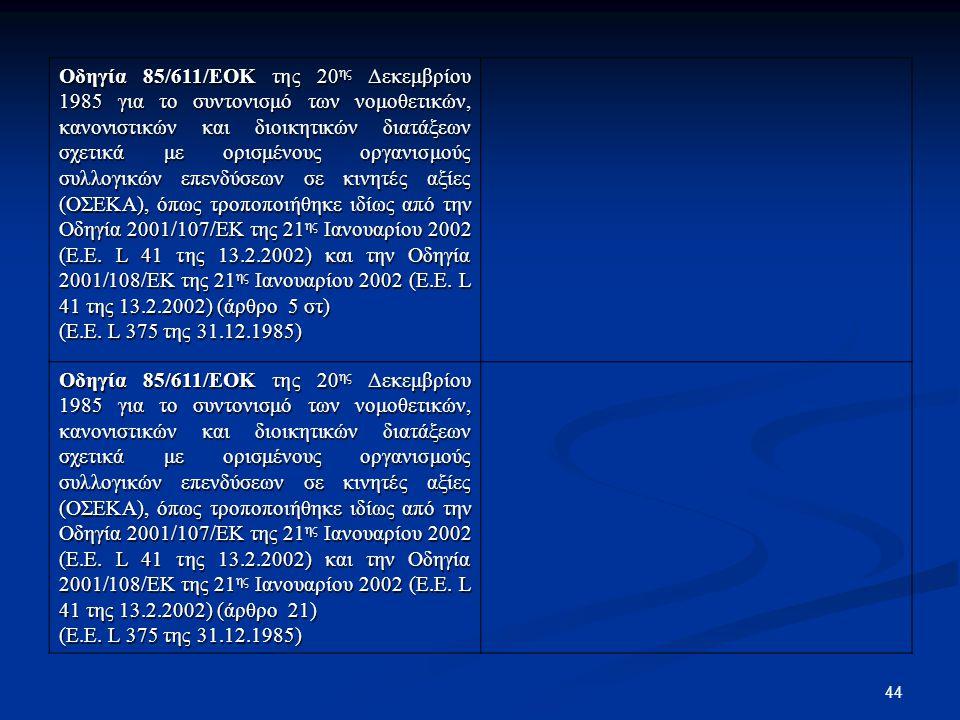 44 Οδηγία 85/611/ΕΟΚ της 20 ης Δεκεμβρίου 1985 για το συντονισμό των νομοθετικών, κανονιστικών και διοικητικών διατάξεων σχετικά με ορισμένους οργανισ