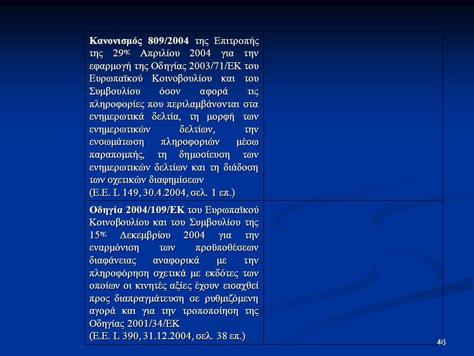 46 Κανονισμός 809/2004 της Επιτροπής της 29 ης Απριλίου 2004 για την εφαρμογή της Οδηγίας 2003/71/ΕΚ του Ευρωπαϊκού Κοινοβουλίου και του Συμβουλίου όσ