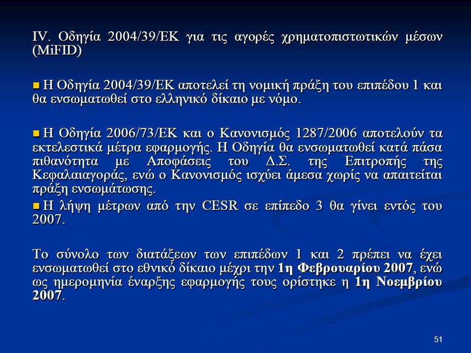 51 IV. Οδηγία 2004/39/ΕΚ για τις αγορές χρηματοπιστωτικών μέσων (MiFID) Η Οδηγία 2004/39/ΕΚ αποτελεί τη νομική πράξη του επιπέδου 1 και θα ενσωματωθεί
