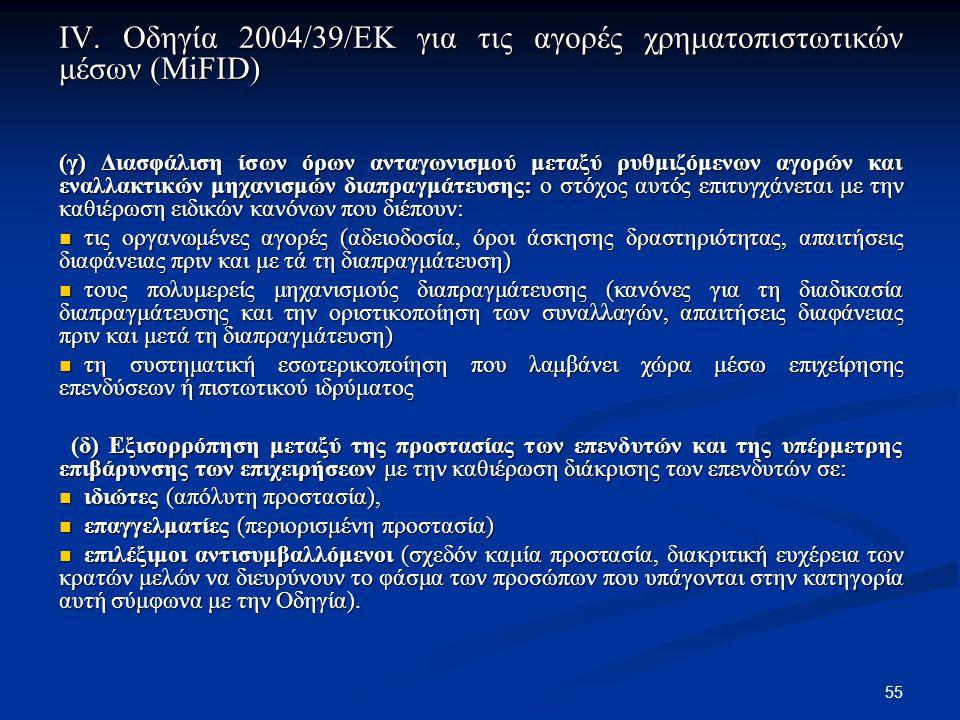 55 IV. Οδηγία 2004/39/ΕΚ για τις αγορές χρηματοπιστωτικών μέσων (MiFID) (γ) Διασφάλιση ίσων όρων ανταγωνισμού μεταξύ ρυθμιζόμενων αγορών και εναλλακτι